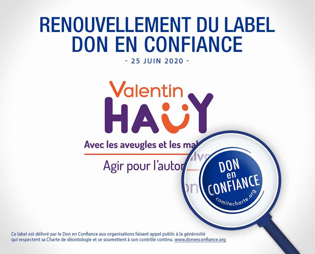 Notre association Valentin Haüy obtient le renouvellement du label Don en confiance pour 3 ans!
